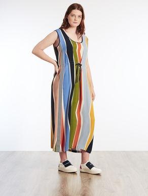 Long dress in printed marocain