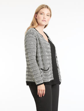 Two-tone knit cardigan
