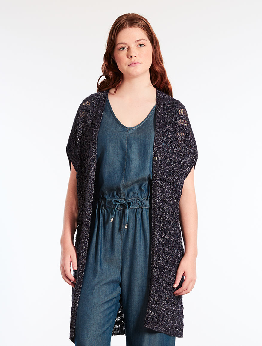 Cardigan crochet in viscosa lurex
