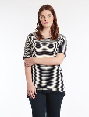 Flowing striped viscose sweater