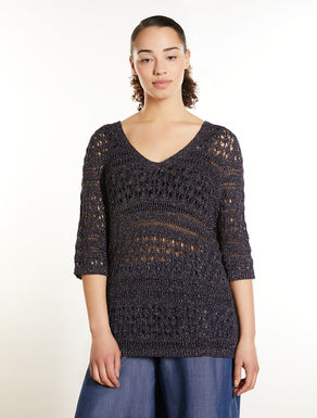 Lurex viscose crochet sweater