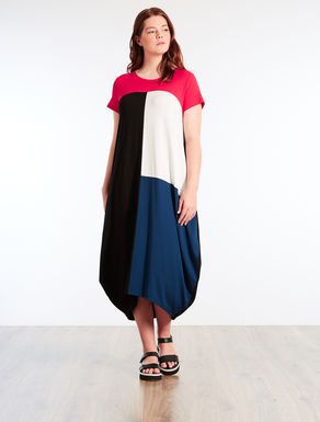 Viscose jersey colour-block dress