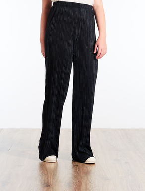 Palazzo trousers in pleated fabric