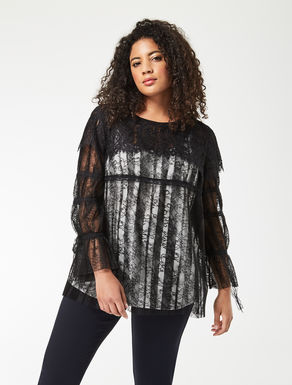 Pleated lace tunic