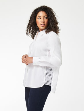 Poplin and embroidered tulle shirt