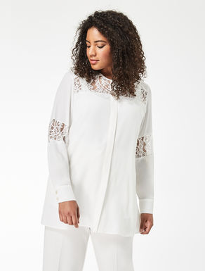 Silk blend and lace shirt