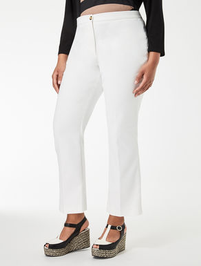 Flared technical cotton trousers