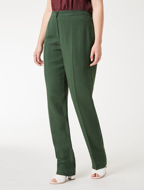 Viscose and linen crêpe trousers