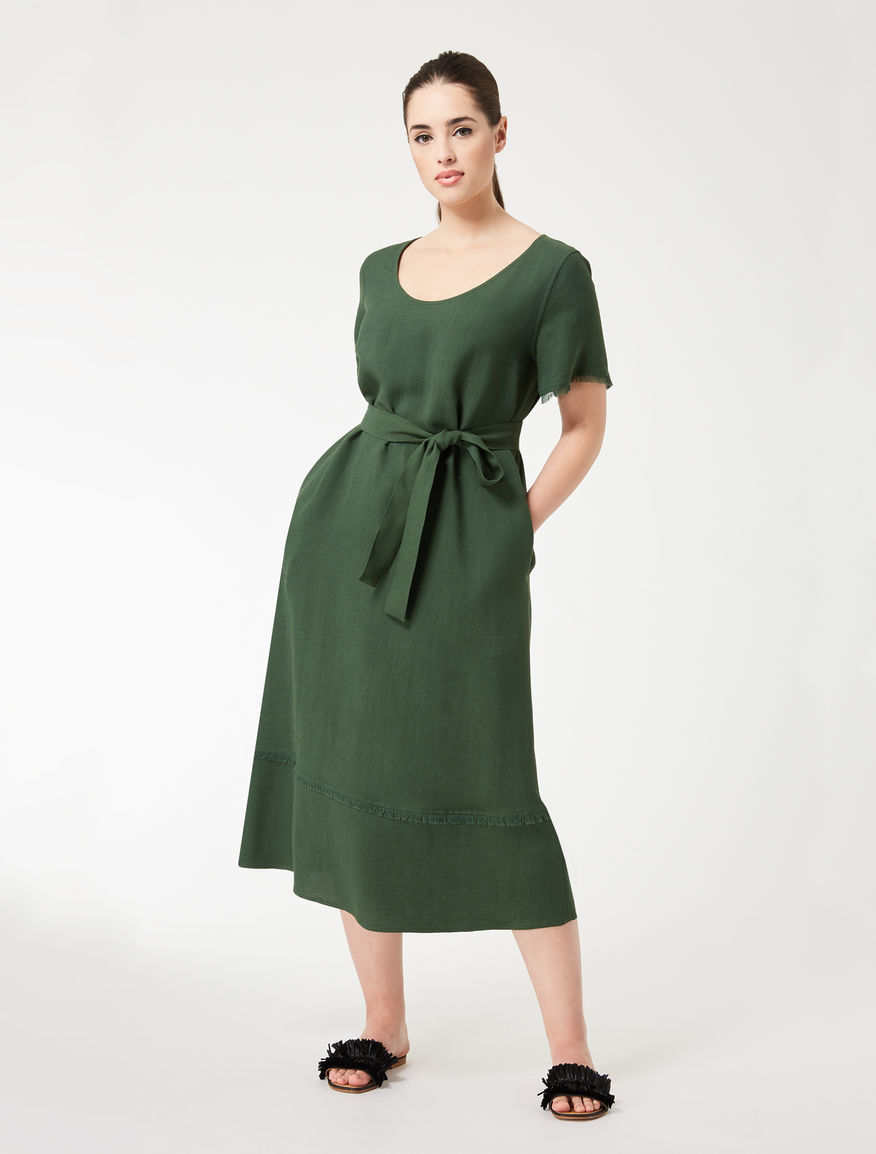 Viscose and linen crêpe dress