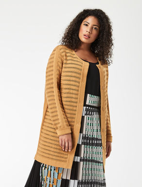 Long openwork cotton cardigan