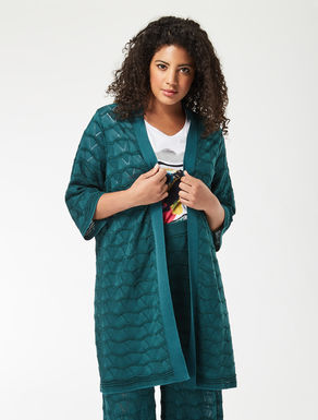 Long cotton and viscose cardigan