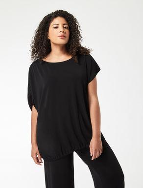 Asymmetric crêpe jersey T-shirt