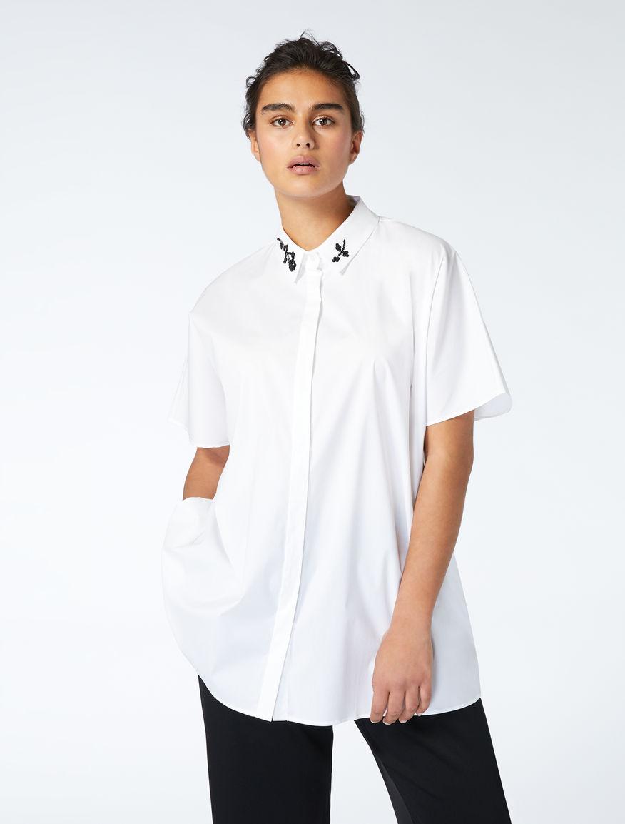 Cotton Poplin Shirt With Embroidery White Benny Marina Rinaldi