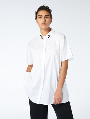 Cotton poplin shirt with embroidery