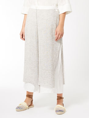 Cropped, linen gauze trousers