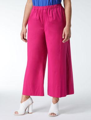 Cropped poplin trousers.