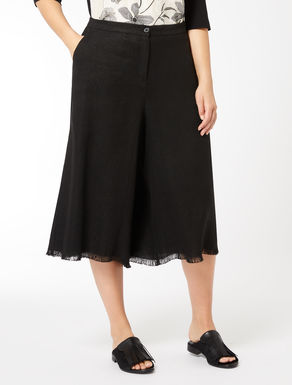 Cropped basketweave trousers