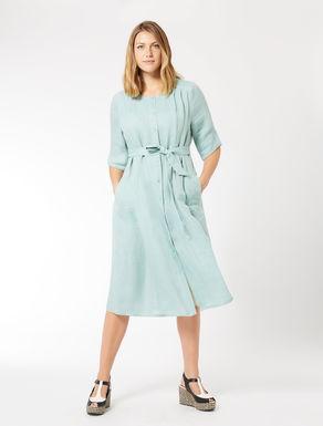 Pure linen shirt-dress