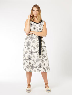 Linen and cotton jacquard dress