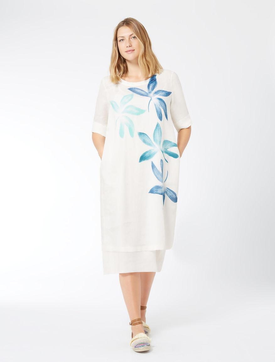 Pure linen canvas dress