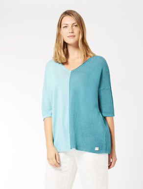 Two-tone, linen blend sweater