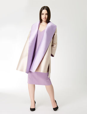 Silk blend mikado duster coat