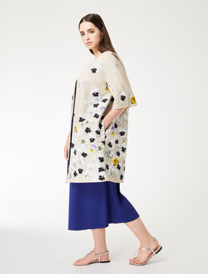 Printed faille duster coat