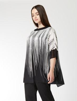 Silk satin and georgette tunic