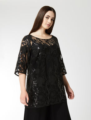 Embroidered tulle tunic