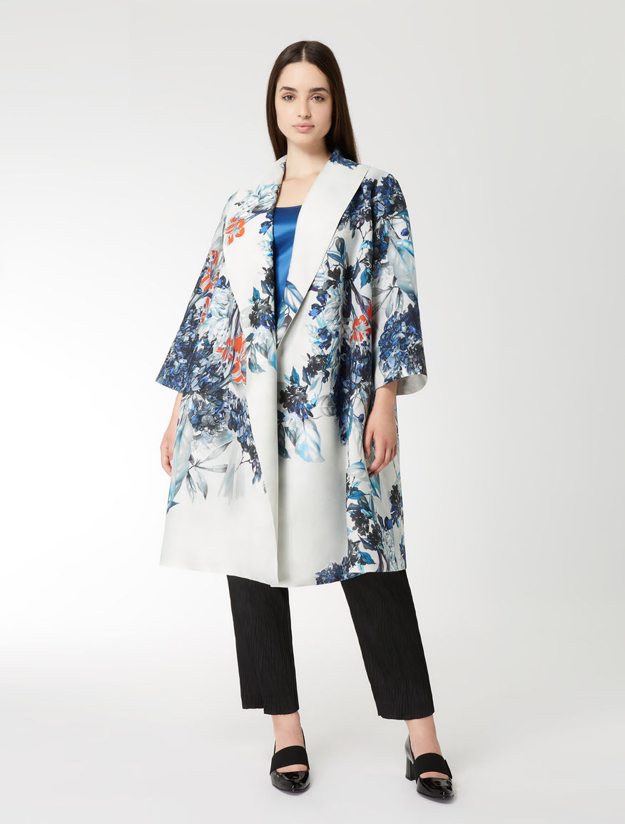 Silk blend duster coat