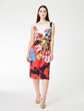 Kleid aus bedrucktem Seidensatin