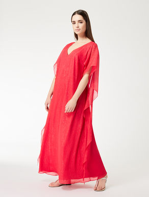 Robe longue en crépon lurex