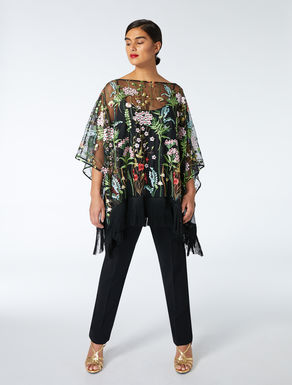 Embroidered tulle poncho