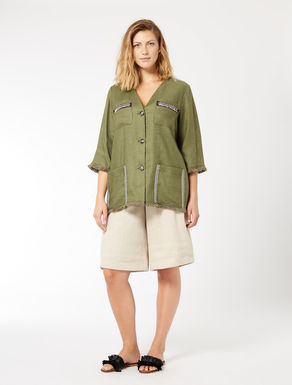 Linen blend jacket with fringing