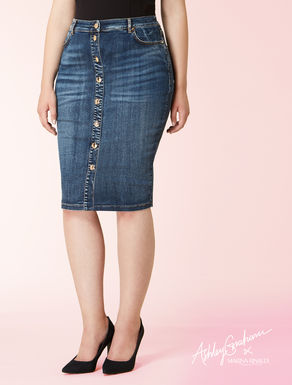 Denim tube skirt