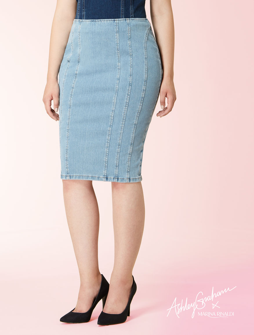 Denim jersey tube skirt
