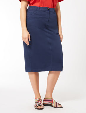 Cotton gabardine tube skirt