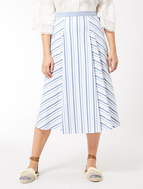 Striped cotton blend skirt
