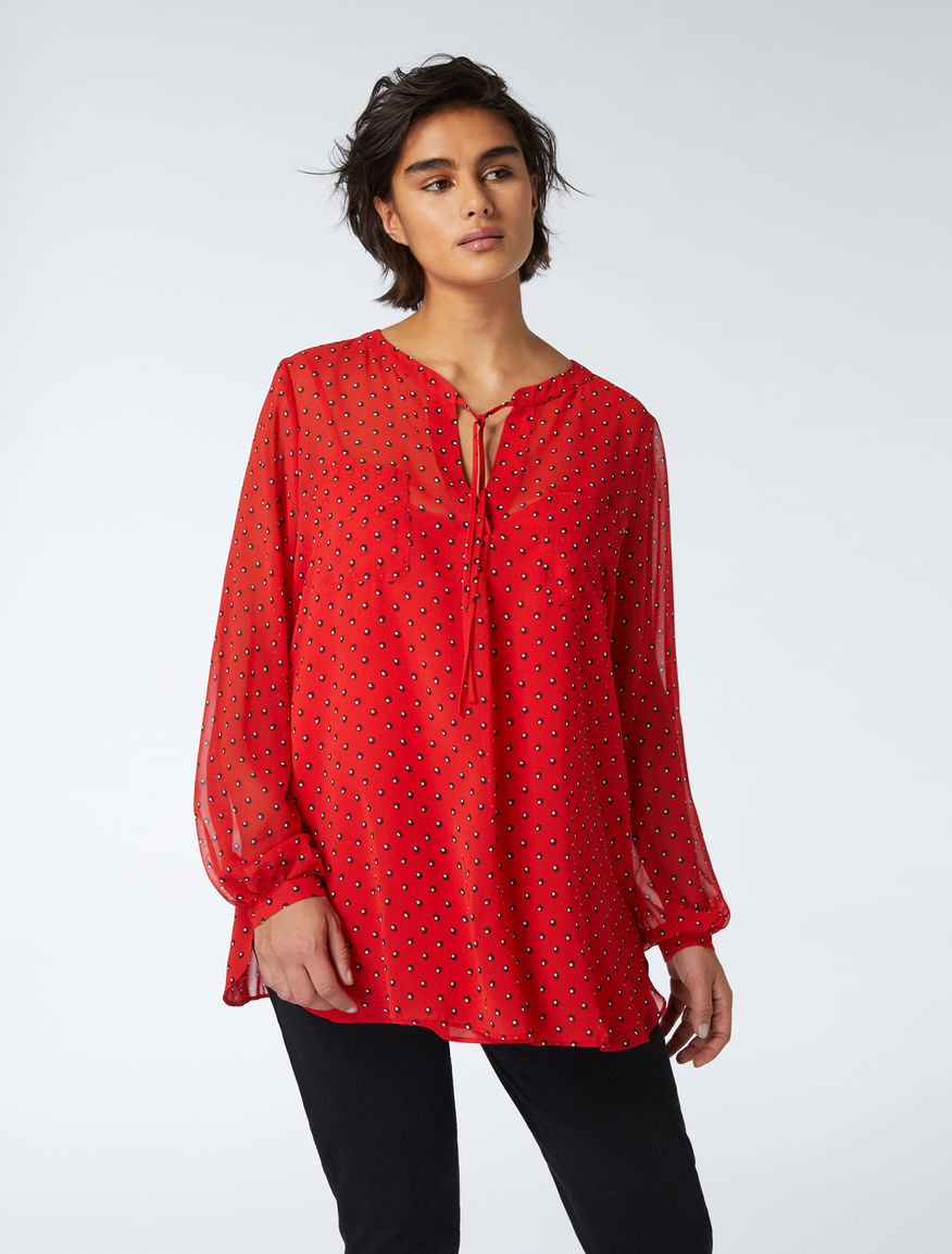 a805ea583fe Printed georgette tunic, red -