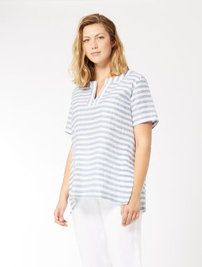 Striped linen and cotton tunic