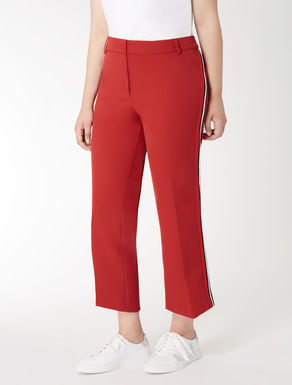 Cropped technical fabric trousers