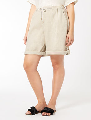 Viscose and linen Bermuda shorts