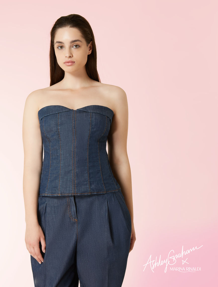 Top en denim stretch