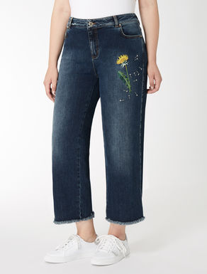 Cropped stretch denim jeans