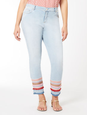 Stretch denim satin jeans