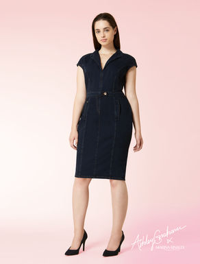 Robe fourreau en jersey aspect denim