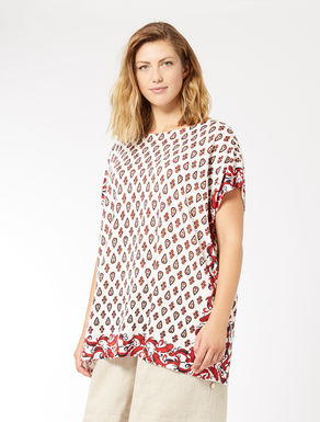 Printed, pure linen tunic