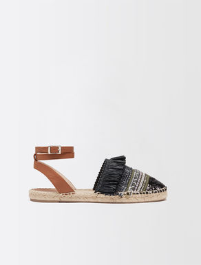 Sandale aus bestickter Baumwolle