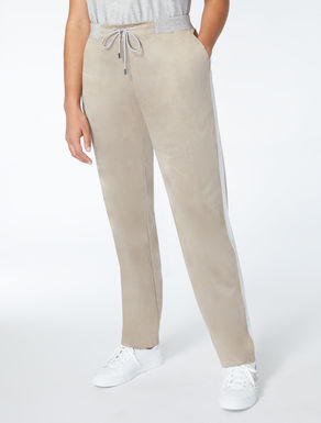 Jersey and suede jogging trousers