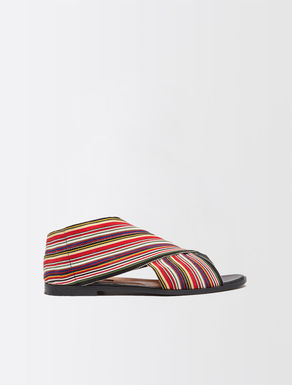 Flat, stretch fabric sandals